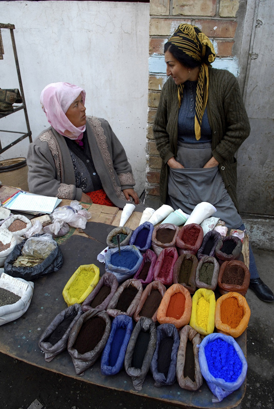 Colorful natural dyes at a market in Osh, Kyrgyzstan